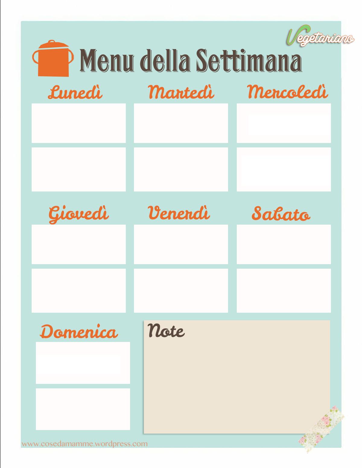 menu settimanale template vegetariano firma