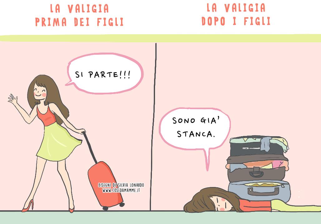 valigia prima e dopo i figli